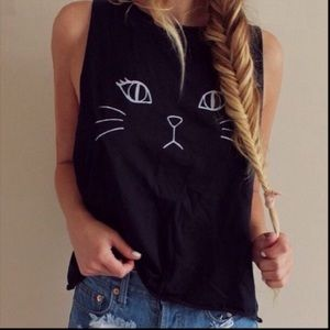 Brandy Melville Cat Graphic Muscle Tank Crop Top